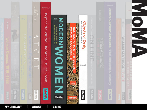 Screen shot of MoMA Book App
