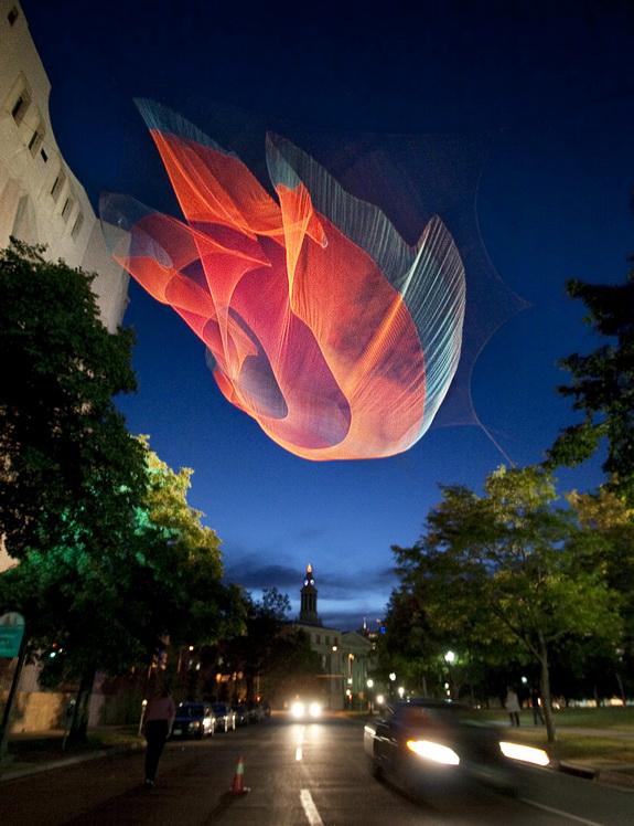 Image of aerial sculpture by Janel Echelman