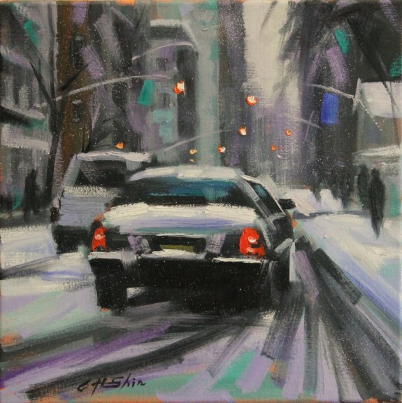 """Snow Day Driving"" is a 12 x 12 inch oil on canvas painting by Chin H. Shin"